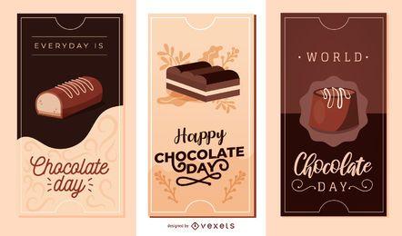 Schokoladen-Tagesvektor-Fahnen-Satz