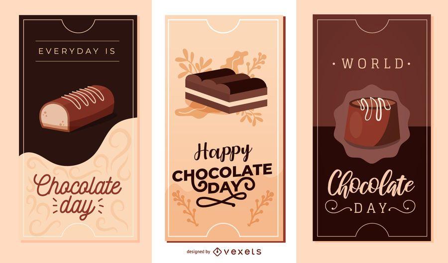 Día de chocolate Vector Banner Set