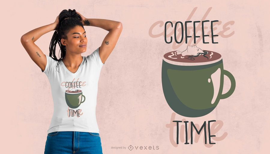 Design de t-shirt da hora do café