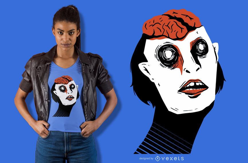 Freiliegendes Gehirn-T-Shirt-Design