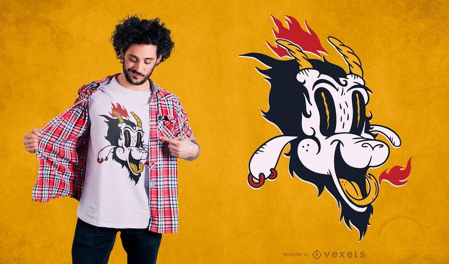 Projeto do t-shirt dos desenhos animados de Satã