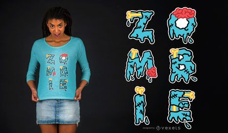 Desenho de camiseta de halloween com citação de zumbi