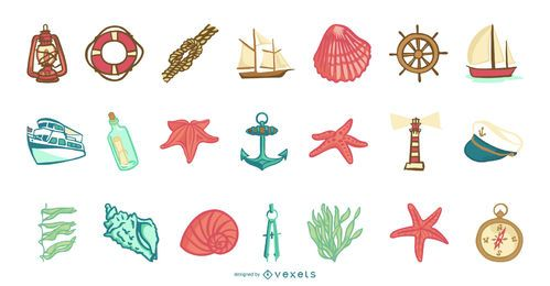 Coleção de elementos do mar