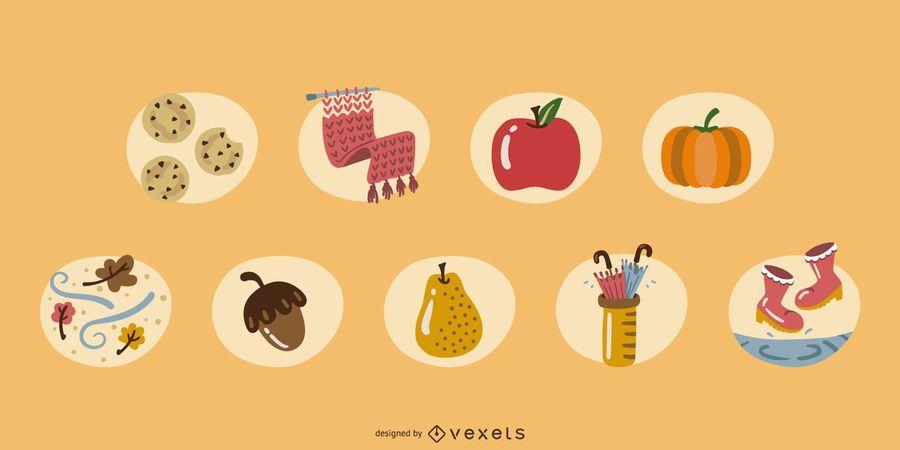 Conjunto de elementos de otoño de color