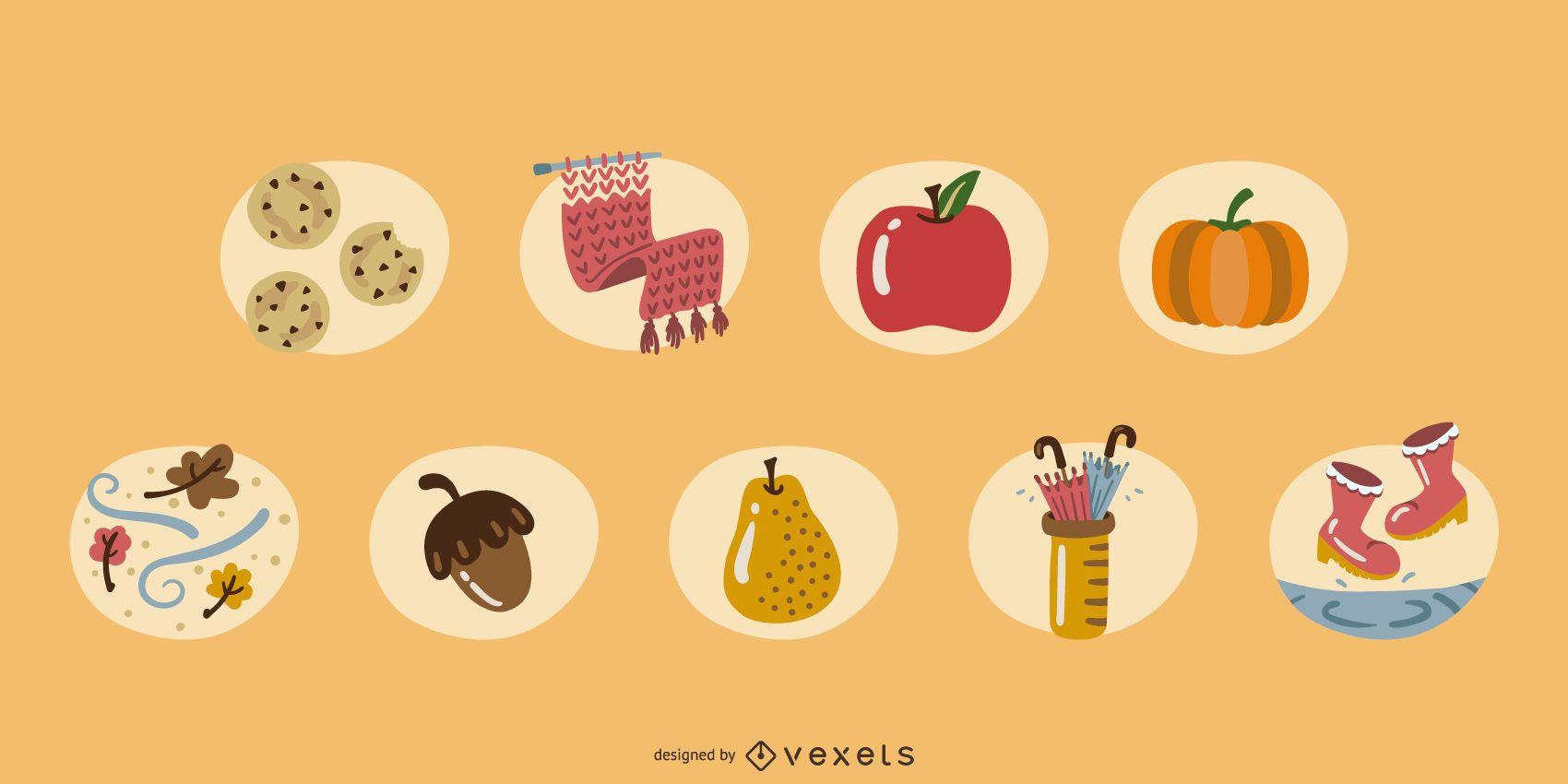 Conjunto de elementos de otoño de colores