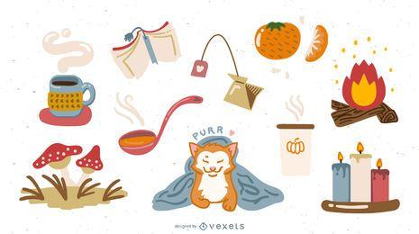 Conjunto de vectores de elementos de estilo lindo de otoño