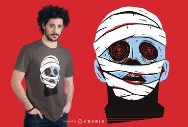 Diseño de camiseta de cara de momia
