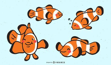 Conjunto de ilustração de peixe palhaço fofo