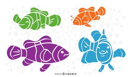 Conjunto de silhueta de peixe-palhaço