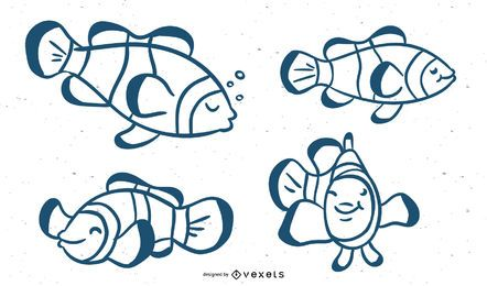 Clown Fish Stroke Vector Set