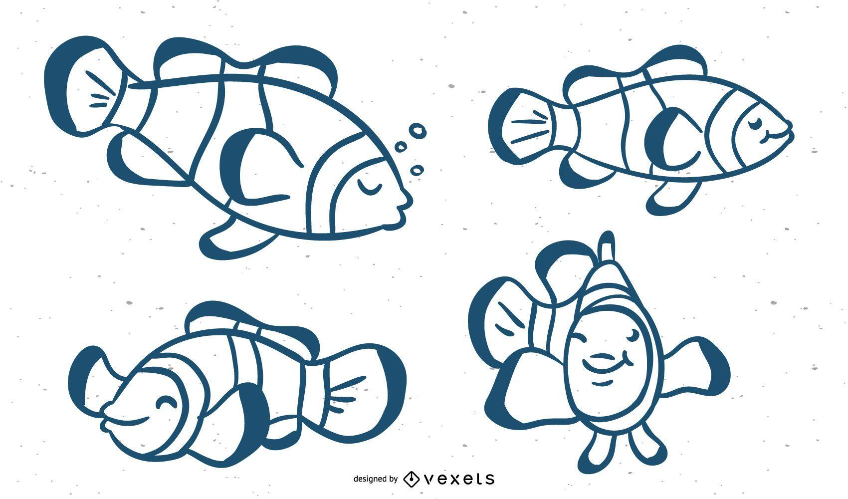 Clown Fish Stroke Vector Set