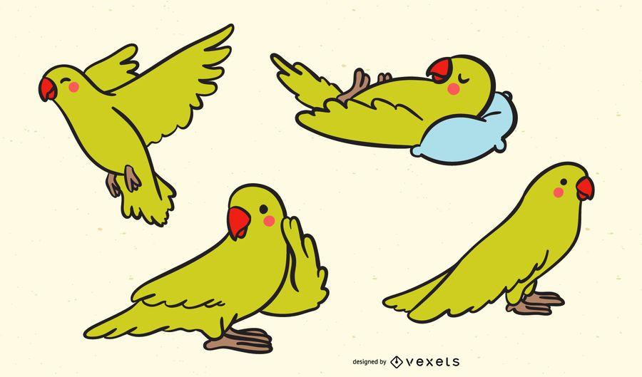 Lindo conjunto de ilustración de loro amarillo
