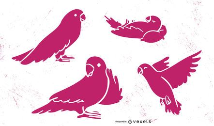 Conjunto de silhueta rosa papagaio bonito