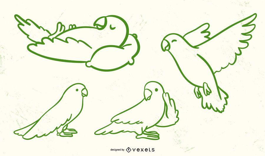Cute Parrot Stroke Vector Set