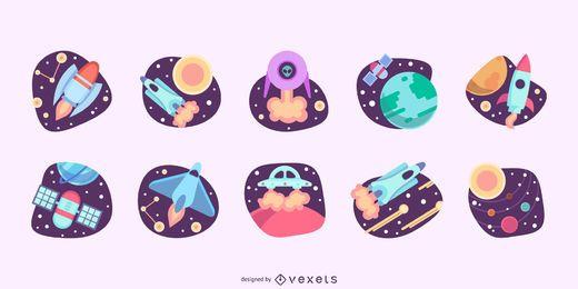 Conjunto plano de ilustraciones de espacio