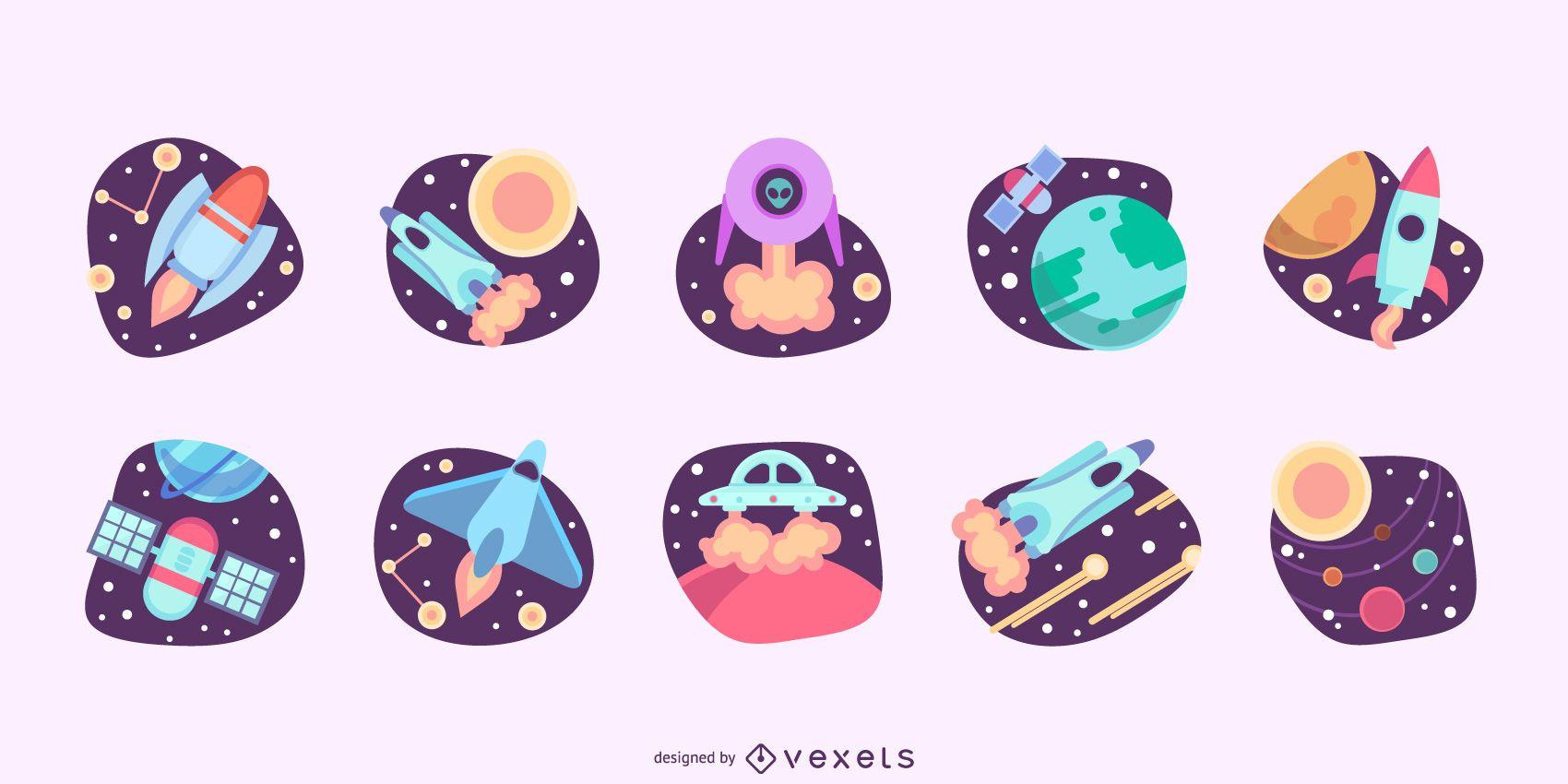 Space illustrations flat set