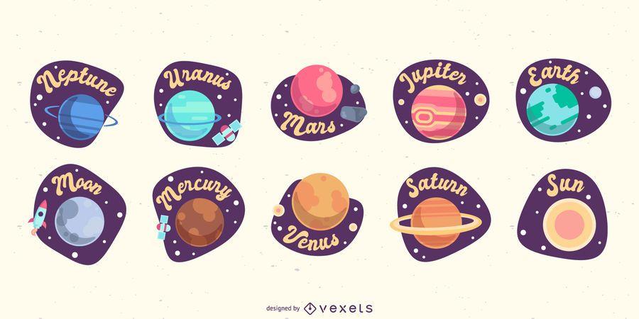 Colección de planetas planos
