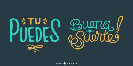 Conjunto de letras espanholas de boa sorte