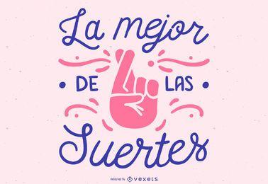 Design de letras espanholas de boa sorte
