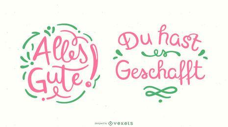 Conjunto de banner de letras alemãs de boa sorte