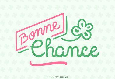 Banner de citação com letras em francês Bonne Chance