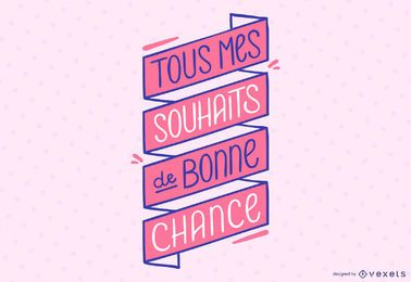 Banner de citação de letras francesas de boa sorte