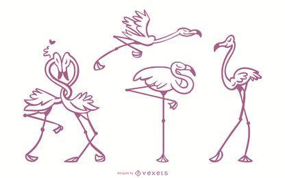 Conjunto de vetor elegante Stroke Flamingo