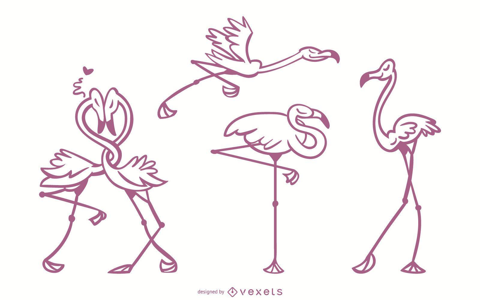 Flamingo Stylish Stroke Vector Set