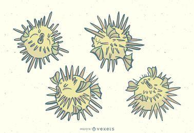 Conjunto de ilustração elegante peixe baiacu