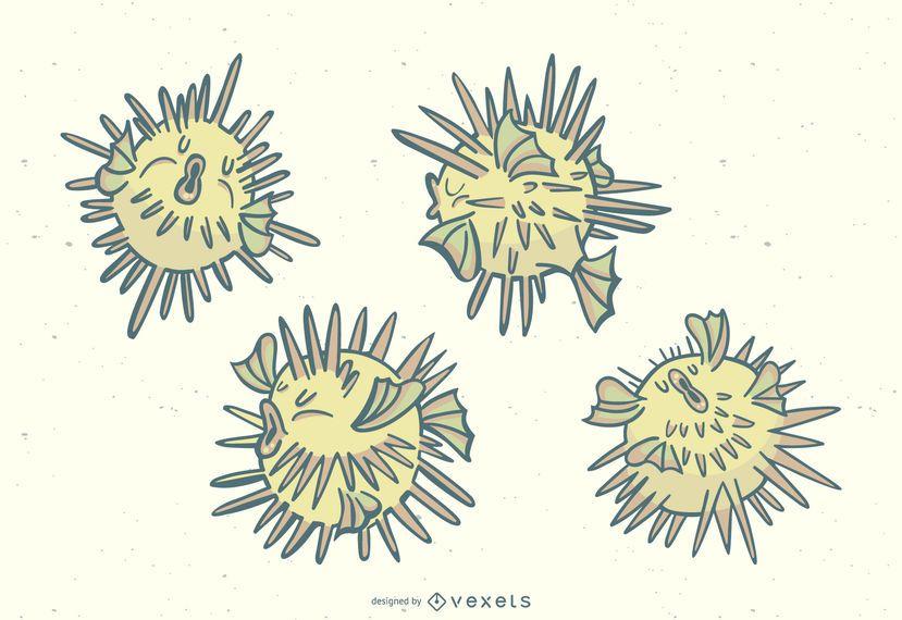 Puffer Fish Stylish Illustration Set