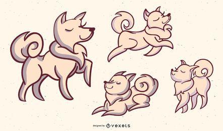 Conjunto de ilustração elegante para cachorro