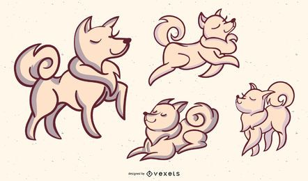 Dog Stylish Illustration Set
