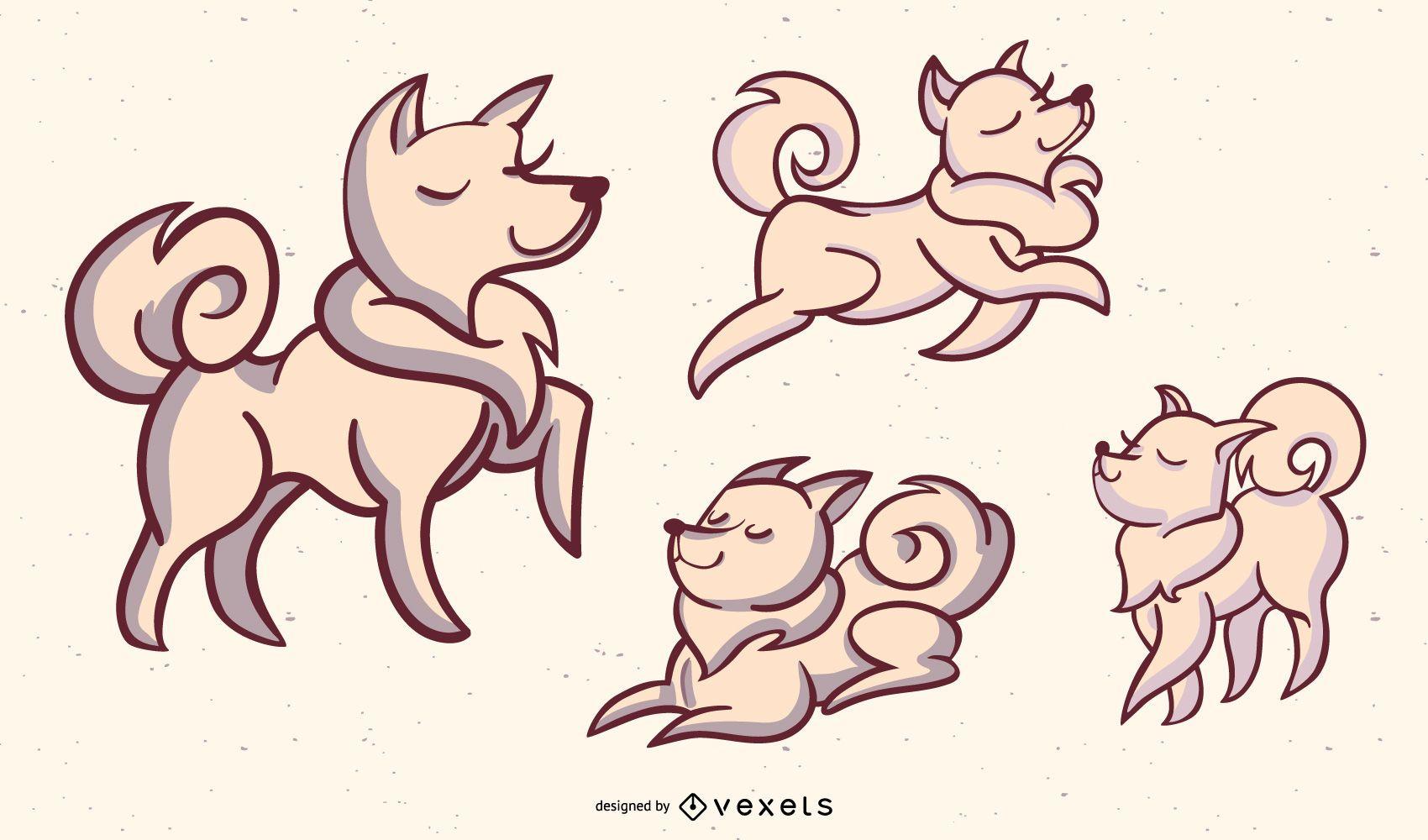 Dog Stylish Illustration Set