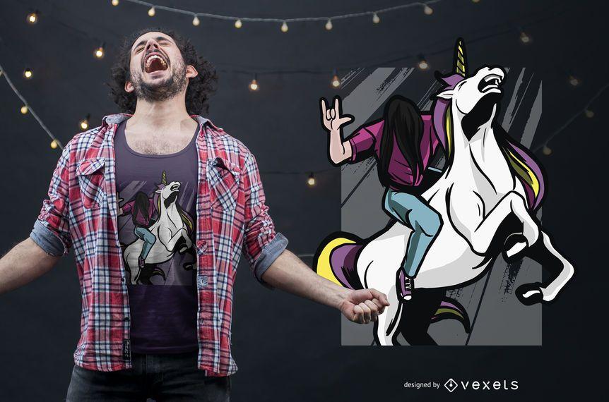 Metalhead Riding Unicorn T-shirt Design