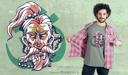Design de t-shirt do homem sagrado barbudo