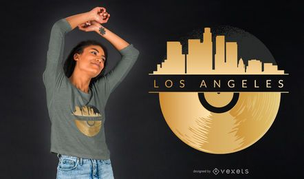 Projeto do t-shirt do vinil da skyline de Los Angeles