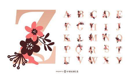 Flower Alphabet Vector Set