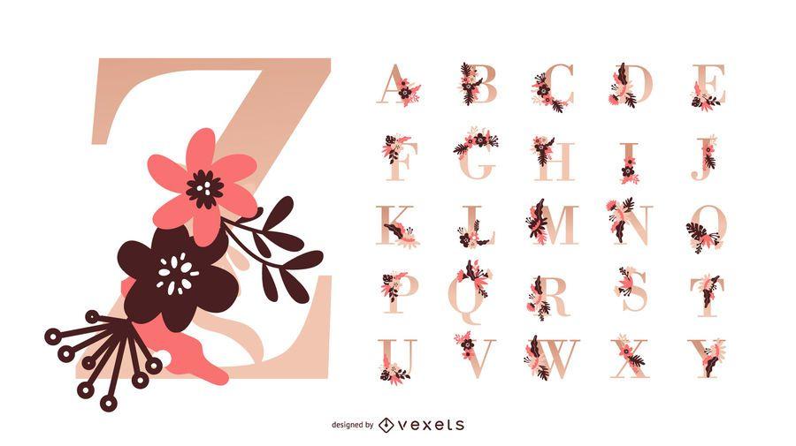 Conjunto de vectores de alfabeto de flores