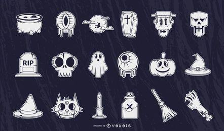 Halloween detailed silhouettes set