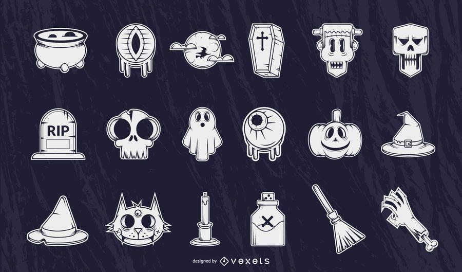 Conjunto de siluetas detalladas de Halloween
