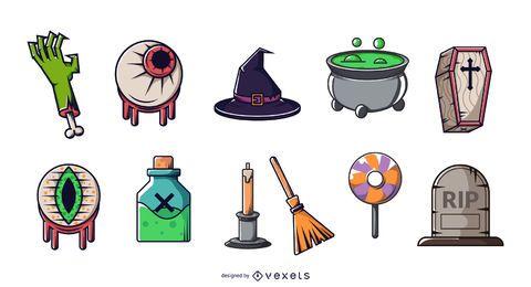 Elementos de Halloween colorido conjunto