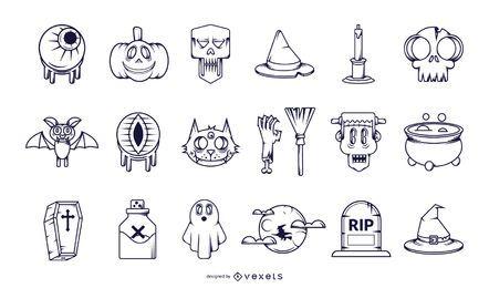 Coleção de ícone de traçado de Halloween