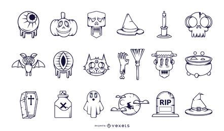 Halloween-Strich-Icon-Sammlung
