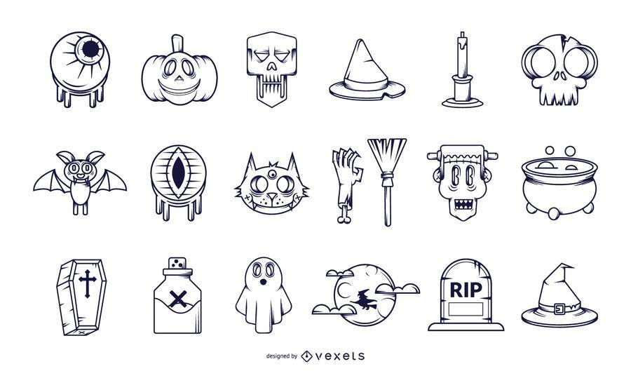 Halloween-Strich-Icon-Sammlung