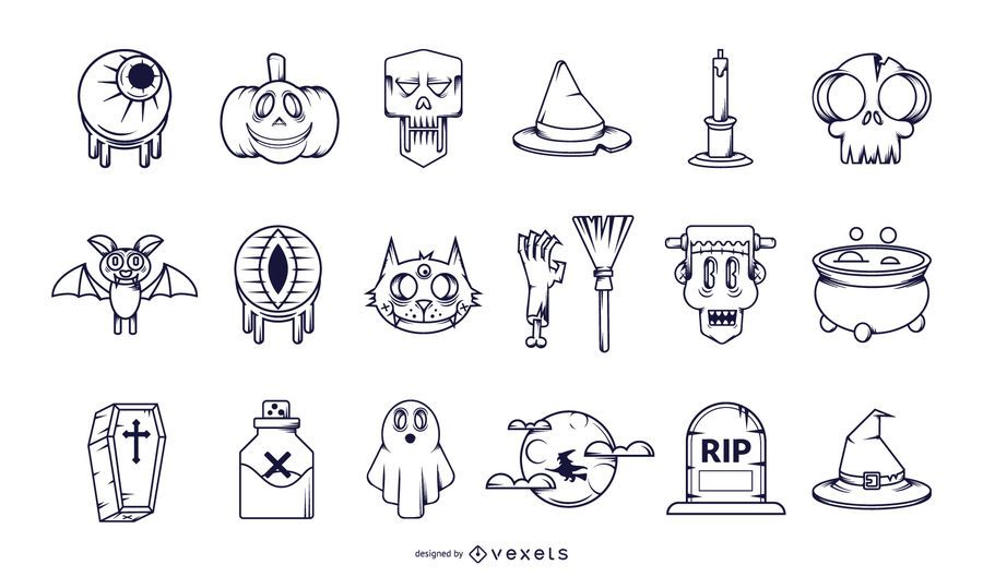 Halloween Stroke Icon Collection
