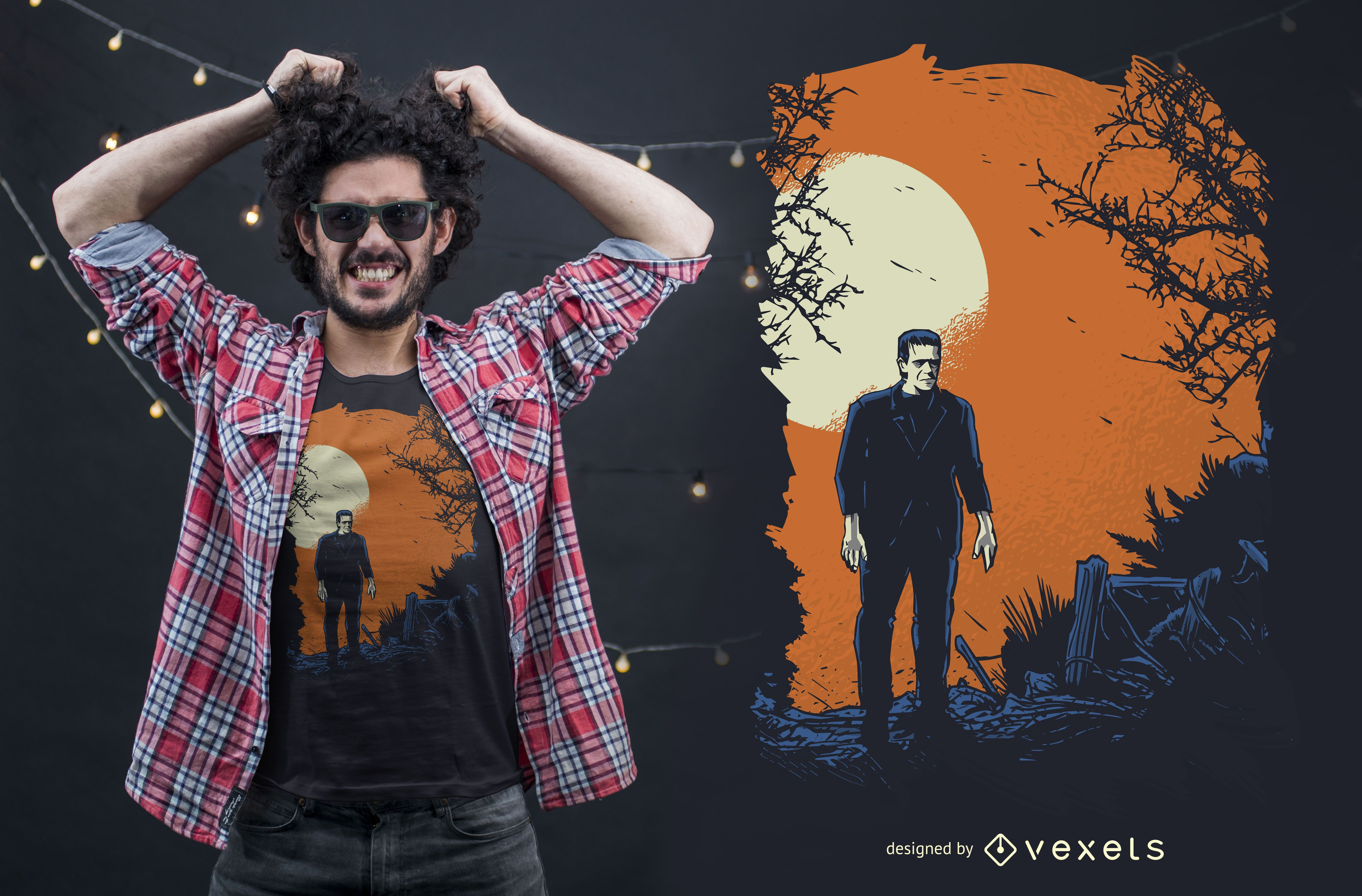 Diseño de camiseta gráfica Frankenstein