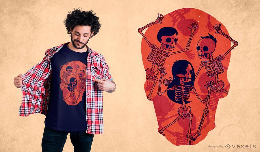 Diseño de camiseta de baile espeluznante esqueleto
