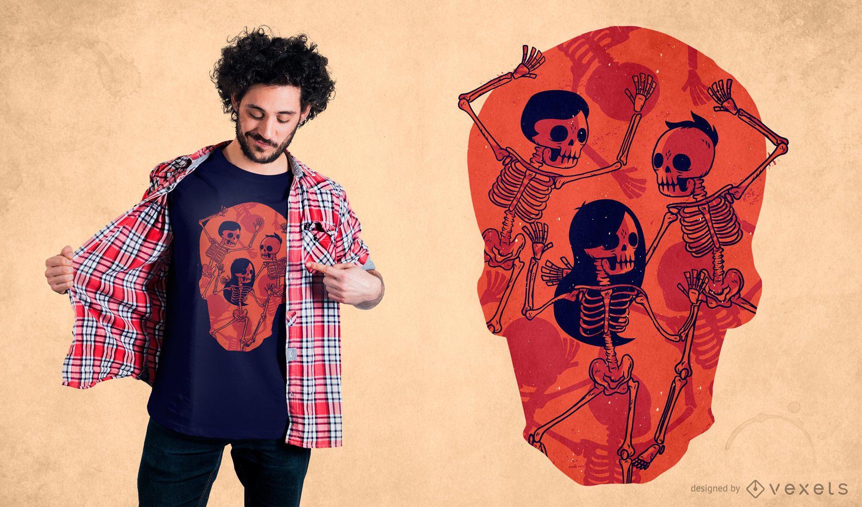 Skeleton spooky dance t-shirt design