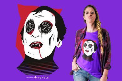 Vampir Gesicht T-Shirt Design