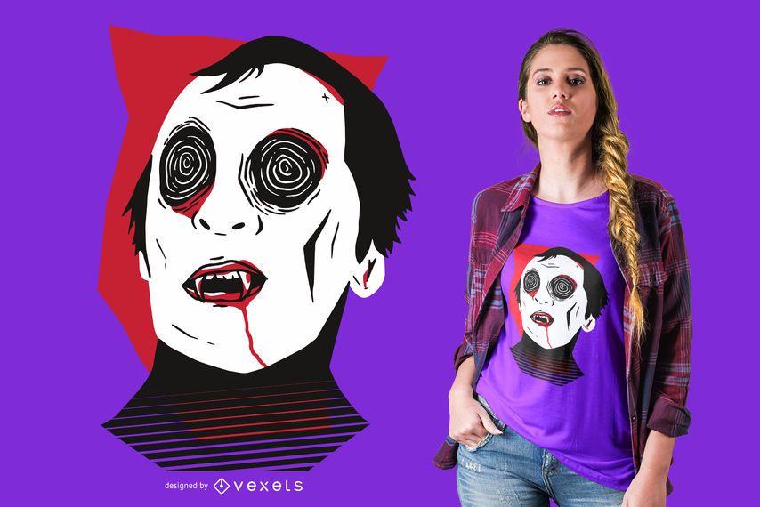 Diseño de camiseta de cara de vampiro